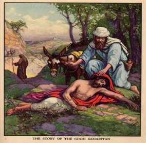 The Samaritan stops to help